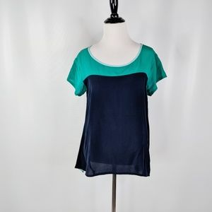 ANTHRO Left of Center Take Two silk colorblock top
